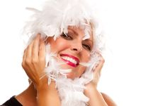 Free Pretty Girl With White Boa Royalty Free Stock Images - 10160219