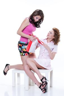 Young Emotional Women With Paper Bag Royalty Free Stock Photography