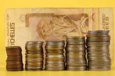 Free Foreign Coins And Notes On A Yellow Background Royalty Free Stock Images - 10160869