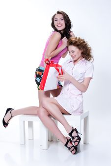 Young Emotional Women With Paper Bag Royalty Free Stock Photo