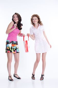 Young Emotional Women With Paper Bag Stock Image
