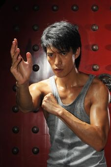 Free Asian Man In Fighting Action Royalty Free Stock Photo - 10162185