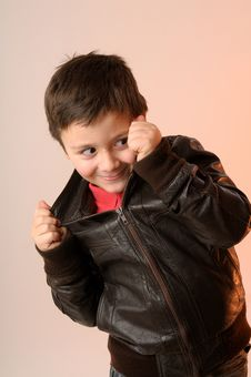 Boy With Jacket Stock Images