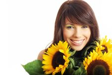 Free Girl With Sunflowers Stock Images - 10165114