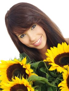 Free Girl With Sunflowers Stock Photography - 10165252