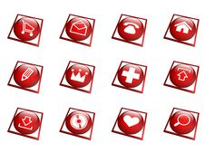 Free Red Button Collection - Square Royalty Free Stock Photo - 10165465