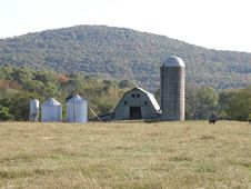 Barn With Silos Stock Image