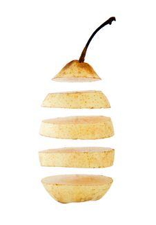Free Chinese Pear Cut Into Slices Isolated Stock Images - 10166754