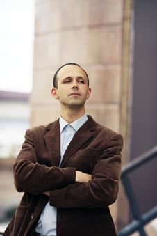 Succesful Business Man Proudly Thinking Royalty Free Stock Photography