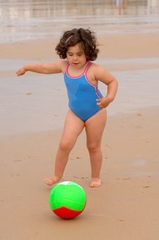 Cute Little Girl On The Beach Stock Images