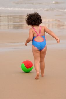Cute Little Girl On The Beach Royalty Free Stock Images