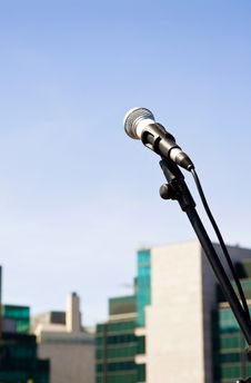Free Speak Up - Microphone On Open Air Stage Royalty Free Stock Photo - 10169845