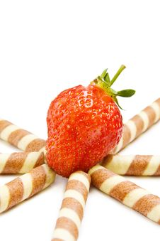 Free Strawberry And Waffles On White Stock Images - 10169864