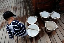 Free Matey Carrying Water Buckets On Cutty Sark Stock Image - 101699691