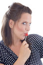 Free Young Woman Flirting Using Lollipop Royalty Free Stock Images - 10172999