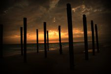 Free Abandon Pier Beach Sunset Royalty Free Stock Images - 10170039