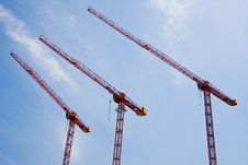 Free Three Cranes In The Sky Royalty Free Stock Photo - 10170225