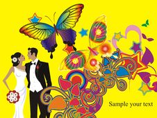 Free Beautiful Wedding Couple Card Royalty Free Stock Images - 10170429
