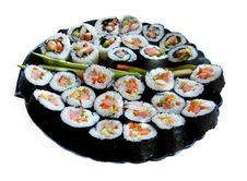 JAPANESE SUSHI SEAFOOD ON THE TRAY ) Stock Photo