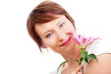 Positive Woman With Flower Stock Image