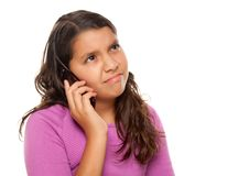 Free Frowning Hispanic Girl On Cell Phone Royalty Free Stock Images - 10172749
