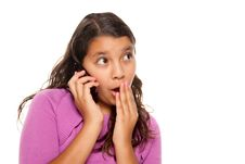 Free Shocked Pretty Hispanic Girl On Cell Phone Royalty Free Stock Image - 10172756