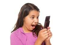 Free Shocked Pretty Hispanic Girl On Cell Phone Royalty Free Stock Images - 10172759