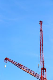 Red Construction Crane Royalty Free Stock Images