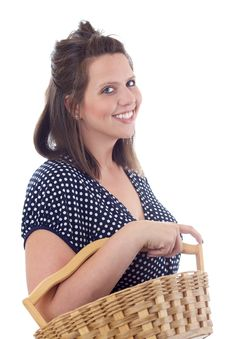 Free Young Woman In A Dress Carrying Basket Royalty Free Stock Image - 10172966