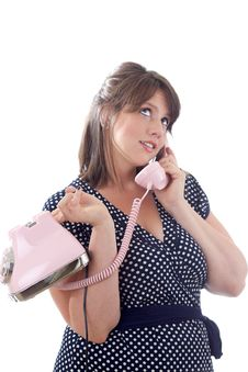 Woman Talking On The Telephone; Isolated Stock Photography