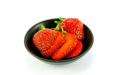 Free Strawberries In A Small Black Dish Stock Image - 10175841