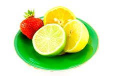 Free Citrus Fruit On A Green Plate Royalty Free Stock Photo - 10175845