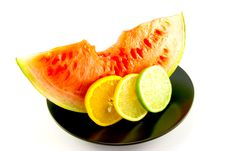 Watermelon With Slice Of Lemon, Lime And Orange Stock Photo