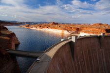 Glen Canyon Dam At Sunset Royalty Free Stock Photo