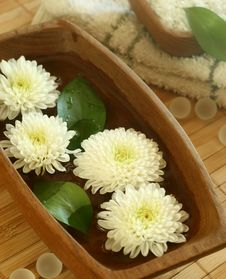 Free White Flowers Floating In Wooden Bowl Royalty Free Stock Photography - 10176467
