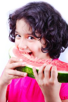 Free Girl And Water Melon Royalty Free Stock Images - 10178159