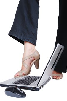 Free Female Leg On Laptop Stock Images - 10178354