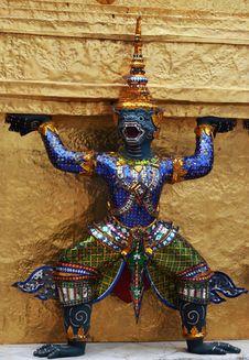 Free Ramayana Figure At Wat Prakaew Thailand Stock Images - 10178524