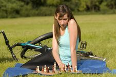 Playing Chess Outdoor Royalty Free Stock Photos