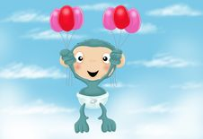 Baby Chimp With Balloons Royalty Free Stock Photography