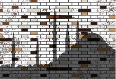 Abstract Grunge Mosaic Tiles And Mosque Silhouette Royalty Free Stock Images