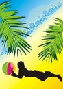 Free Silhouette Of Boy With A Ball Among The Palms Stock Photos - 10182113