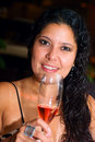 Free Woman Drinking Wine In A Bar Restaurante Royalty Free Stock Photo - 10184575