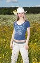 Free Beautiful Girl In Field With Yellow Flower Royalty Free Stock Photo - 10187845