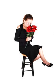 Free Lady With Red Roses. Stock Photo - 10181340