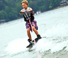 Free Young Boy On Trick Skis/Wake Stock Photography - 10183152