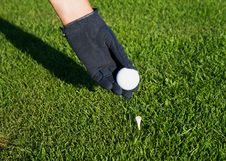 Free Hand In Glove Golf Black, Putting A Ball On A Tee Royalty Free Stock Images - 10183379