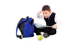 Free Schoolboy With Book And Apple Stock Photography - 10184682