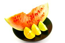 Watermelon With Wedge Of Lemon, Lime And Orange Stock Image