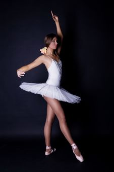 Ballerina In White Tutu Stock Images